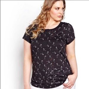 PENNINGTONS | 2X | Black Button Front Cocktail Tee